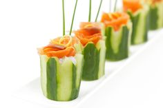 herbed cream cheese and lox in cucumber cups