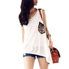 Allegra K Women Scoop Neck Leopard Pattern Back Irregular Hem Tank Shirt White XS Allegra K. $9.82