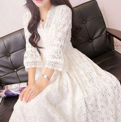 Womens White Lace Hollow Slim Fit Fashion Shirt Dress 3/4 Sleeves Skirt C196