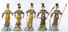Lot 485: Asian Cloisonne Female Figurine Assortment; Eight boxes with ten contemporary female figures having resin hands and wooden bases