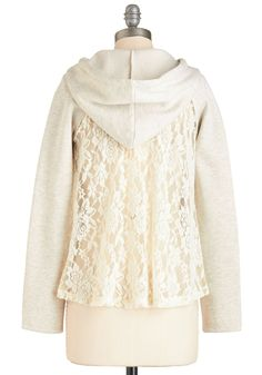 Peek of Pretty Hoodie. Dont hide your adorable ensemble - slip on this cream hoodie and put it on display! #cream #modcloth