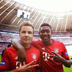 Mario Götze and David Alaba in the Allianz Arena Thomas Müller, Philipp Lahm, Mario, Dfb Team, Football Is Life, Thick And Thin, Best Player, Kicks, Soccer
