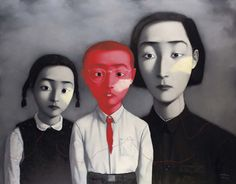 A Big Family 1995 Oil on canvas 179 x 229 cm Inspired by family photos from the Cultural Revolution period, as well as the European tradition of surrealism, Zhang Xiaogang's paintings engage with the notion of identity within the Chinese culture of collectivism. http://www.saatchigallery.com/artists/artpages/zhang_xiaogang_family.htm