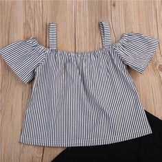 Striped Cold Shoulder Blouse and Long pants Set - Denise Off Shoulder T Shirt, Cold Shoulder Blouse, Frocks For Girls, Long Pants, Long Tops, Outfit Sets, Pants Outfit, Fashion Kids, Style Fashion