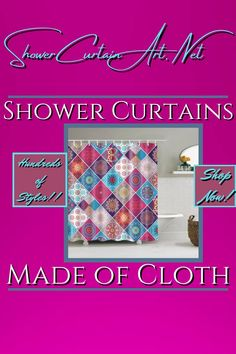 Drastically enhance your bathroom decor with a soft & stylish fabric shower curtain from Shower Curtain Art. Our luxurious high quality fabric shower curtains are all made with 100% premium grade soft polyester cloth. This allows the curtain to drape gracefully while also providing quick drying technology which easily evaporates any unwanted moisture. Shower Curtain Art, Modern Shower Curtains, Fabric Shower Curtains, Modern Bathroom Design, Bathroom Interior Design, Bathroom Furniture, Bathroom Ideas, Shower Accessories, Patchwork Fabric