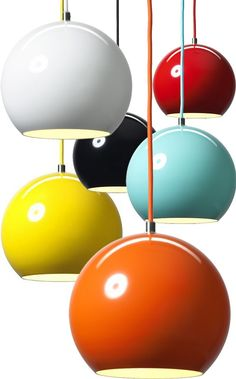 Lighting Design // The classic modern Tapan pendant light in all the best vivid colors produced by Verner Panton, featured on TheDesignerPad - a great example of minimalist decor Mid Century Interior Design, Mid-century Interior, Mid Century Design, 1960s Interior Design, Scandinavian Interior, Cool Lighting, Modern Lighting, Lighting Design, Pendant Lighting