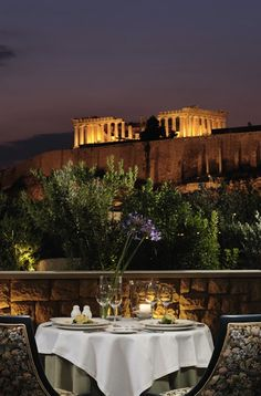 Dinner for two - with a view!  Athens, Greece. (OMG! Yes. Yes. yes.)