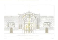 Architectural Drawing Banque de France Facade by CarambasVintage, $28.00