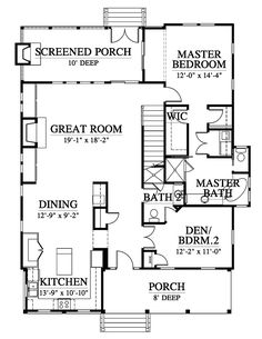 Contemporary Cottage Country Southern House Plan 73936 Level One