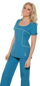 """Baby Phat Women's Scoop Neck Scrub Top 26809      This fashionable scoop neck top has contrast piping that edges the neck, front yoke, and pockets. Front princess seaming and center back elastic for a slim fit. A flange bottom hem adds a layered effect, a silver metallic feline logo at right front pocket, and side vents complete the picture. Center back length 26"""".      $22.00 #babyphat #scrubs #nurses #scrubcouture"""