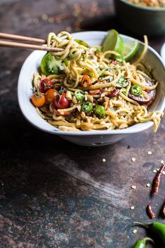 Szechuan Peanut and Chili Zucchini Noodles by halfbakedharvest #Noodles #Zuccchini #Peanut #Chili