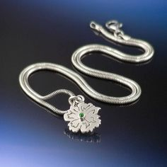 Sterling silver emerald flower birthstone necklace