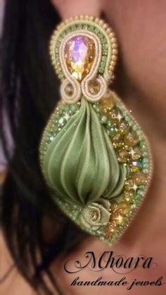 Shibori silk earrings 'Gold Olivine' MHOARA Handmade Italian Jewels