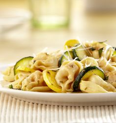 Cheesy tortellini are tossed with fresh summer squash, garlic, onion and butter. It's an easy weeknight dinner that's ready in just 10 minutes!