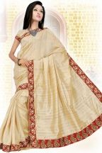 Wheat Brown Silk Embroidered Party and Festival Saree
