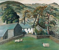 """Watendlath Farm, Cumberland"" by Dora de Houghton Carrington, aka 'Carrington' British Painter & Decorative Artist associated with the Bloomsbury Group . Landscape Art, Landscape Paintings, House Paintings, Seascape Paintings, Dora Carrington, Bloomsbury Group, Country Art, Hereford, Lake District"