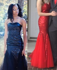 Women's Sweetheart Prom Gown Mermaid Floor Length Homecoming Dress Sequin Tulle Prom Dress