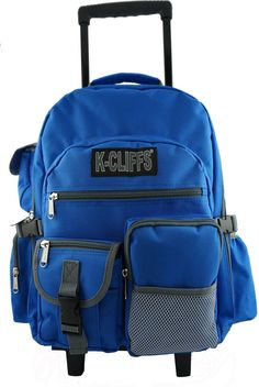 """18"""" Heavy Duty Rolling Backpack with Multi Compartments - Royal  #bagshop #shoulderbags #WomenWallets #YLEY #L09582 #highschool #bag #handbags #Happy4Sales #fashion #backpack #kids"""