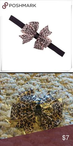 leopard print baby bow headband leopard print baby bow headband  - brand new, directly from the manufacturer  - solid black fold over elastic headband with attached leopard print grosgrain bow  - suitable for babies, toddlers and big girls - these fit my 8 month old perfect & my 5 year old great! Accessories Hair Accessories