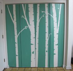 painted diy birch trees, how cool! Im seeing a family tree project. Also, awesome blog on sewing girly clothing.
