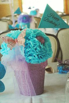 glitter pots with paper flower arrangement gift!