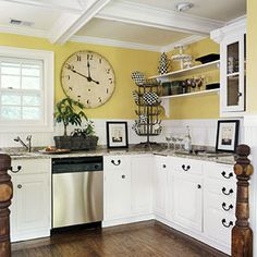 yellow kitchen white cabinets - Google Search