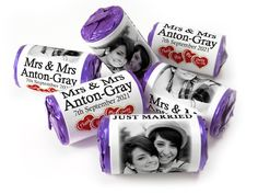 Wedding Favours - Love Heart Sweets with Colour Foil choices - - Mrs & Mrs Wedding Favours Love Hearts, Wedding Favour Sweets, Wedding Favors, Mint Sweets, Love Heart Sweets, One Design, Just Married, Special Day, Choices