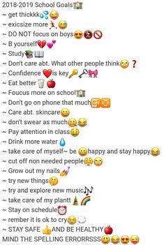 School Goalss/bucket list School Goalss/bucket list The post School Goalss/bucket list appeared first on School Ideas. Middle School Hacks, High School Hacks, Life Hacks For School, School Study Tips, High School Life, School Ideas, Morning Routine School, After School Routine, School Routines