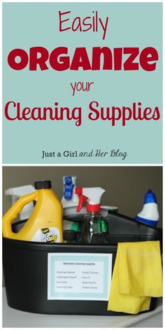 Cut down on cleaning time and lessen frustration with these simple tips for organizing your cleaning supplies! Cleaning Closet, Cleaning Hacks, Cleaning Supplies, Cleaning Caddy, Domestic Cleaners, Clean Bathtub, Organization Hacks, Organizing, Bathroom Organization