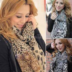 Mantón de la bufanda del nuevo de la moda de moda Cozy De Mujeres Nobles señoras Pañoleta mufla Designs Leopard Sexy