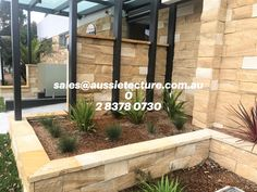 Residential House Project: Kirra banded walling + Banded Split Blocks + Capping Sandstone.  All Made from Local Sandstone.  #aussietecture #sandstone #masonry #stonemason #landscapedesign #landscapearchitect #architecture #homebuilder #stonework #housedesigner #gardendesign #landscaper #gardeninspiration #gardenedging #retainingwalls #exteriordesign #exteriors Pavilion Architecture, Japanese Architecture, Sustainable Architecture, Residential Architecture, Contemporary Architecture, Landscape Design, Garden Design, House Design, Sandstone Wall