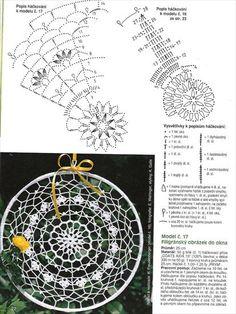 Zawieszki do okien - TitinaKrkM - Picasa Web Albums Crochet Stars, Crochet Circles, Crochet Doily Patterns, Crochet Diagram, Mandala Pattern, Thread Crochet, Crochet Motif, Diy Crochet, Crochet Designs