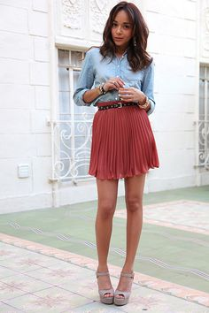 tuck chambray into a skirt + belt it