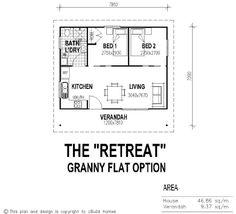 tiny house single floor plans 2 bedrooms   UBuild Designs » Standard 2 Bedroom Granny Flat