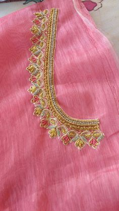 Simple Blouse Designs, Stylish Blouse Design, Silk Saree Blouse Designs, Bridal Blouse Designs, Hand Work Embroidery, Embroidery Flowers Pattern, Embroidery Designs, Tambour Embroidery, Mirror Work Blouse Design