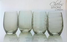 Stemless Wine Glasses by Mikasa, Cheers Smoke, Set Of 4 Glasses #Mikasa Crystal Glassware, Stemless Wine Glasses, Mikasa, Cheers, Smoke, Crystals, Tableware, Ebay, Drinkware
