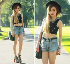 Get this look: http://lb.nu/look/3201371  More looks by Chloe T: http://lb.nu/chloe_t  Items in this look:  Markethq Cropped Top, Evil Twin Studded Shorts, Topshop Collar, H&M Bag