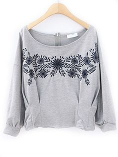 Grey Half Sleeve Floral Embroidery Zip Crop Sweatshirt US$24.43