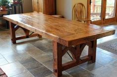 Large Rustic Table  Like the thickness, legs ok, color darker better.