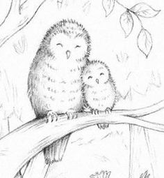 Mommy And Baby Owl good drawings | Owl mom and baby by Rachel Clowes | hiboux | Pinterest