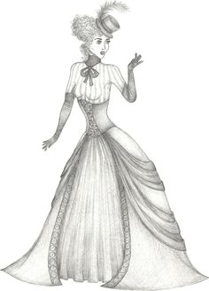 Coloring Pages of Victorian Ladies | How Draw Victorian People Pictures