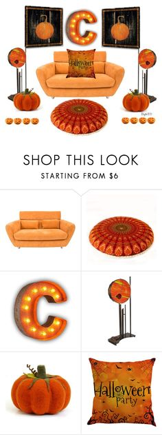 """""""Home Sets With Pumpkins🎃  Contest"""" by birgitte-b-d ❤ liked on Polyvore featuring interior, interiors, interior design, home, home decor, interior decorating, Ligne Roset and Vintage Marquee Lights"""