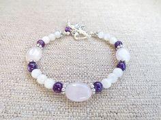 Rose Quartz Moonstone & Amethyst Gemstone by FertileGems on Etsy