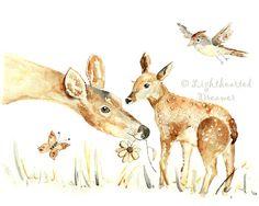 Deer Art Print, Woodland Nursery Art, Forest Print, Animal Watercolor, Woodland Decor, Fawn Print, Gender Neutral on Etsy, $18.00