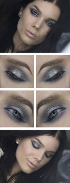 Silver and grey ♥ Linda Hallberg - incredible makeup artist. Very inspiring -- from her daily makeup blog. | Inspiration for upcoming projects by Adagio Images at www.adagio-images.com/modeling or www.facebook.com/adagioimages | #makeup #makeupinspiration ♥