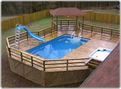 great deck for above ground pool with hot tub and shady alcove