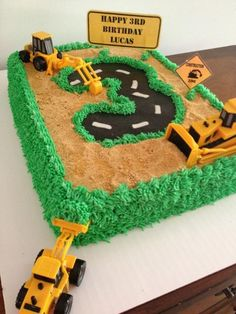 Construction cake Perfect for Hunter's Bday 3rd Birthday Cakes, Monkey Birthday, Third Birthday, 3rd Birthday Parties, Birthday Fun, Birthday Ideas, Construction Birthday Parties, Construction Party, Construction Business