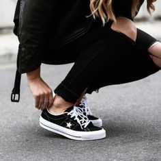 Monochrome Black And White Star Styled Sneakers Spring Summer Black Ripped Knee Denim Jeans And Black Jacket
