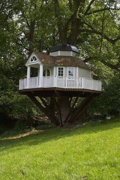 Tree House with a wrap around porch... too chic for children.