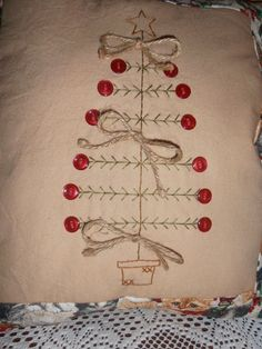 Primitive Stitchery Christmas Tree Pillow, Christmas Decor, Rustic, Sampler, Country Decor